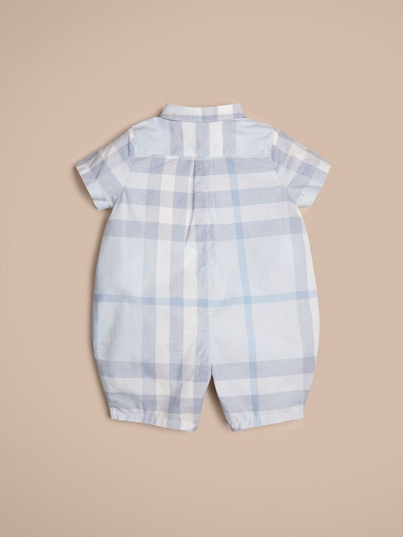 Check Cotton Playsuit in Ice Blue | Burberry Singapore - cell image 2