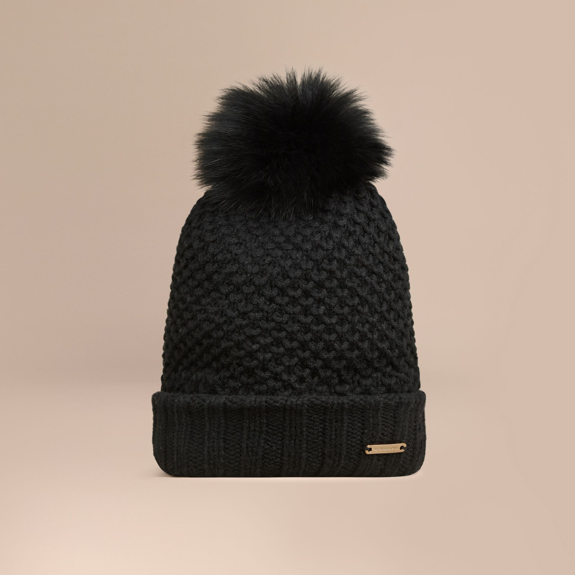Fur Pom-Pom Beanie in Black - gallery image 1