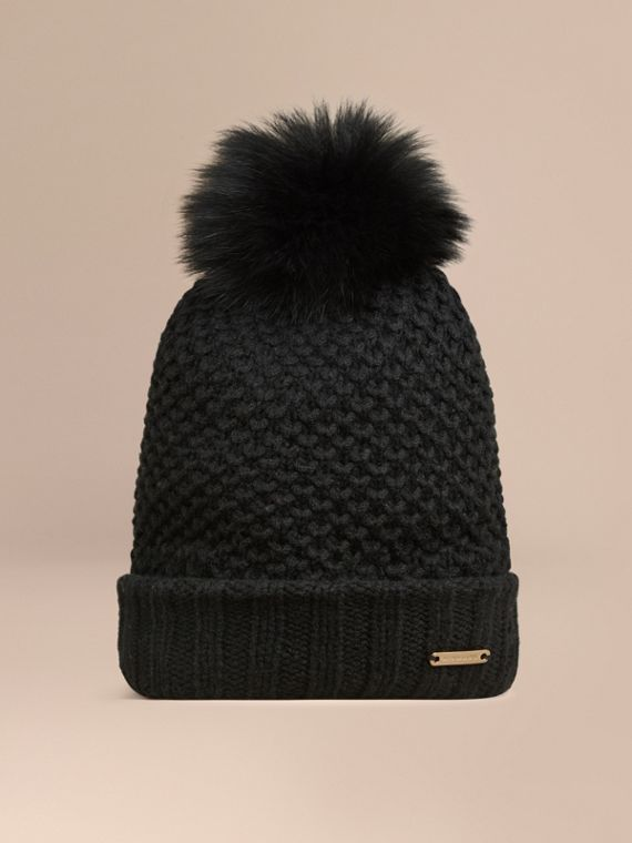 Fur Pom-Pom Beanie in Black - Women | Burberry Singapore