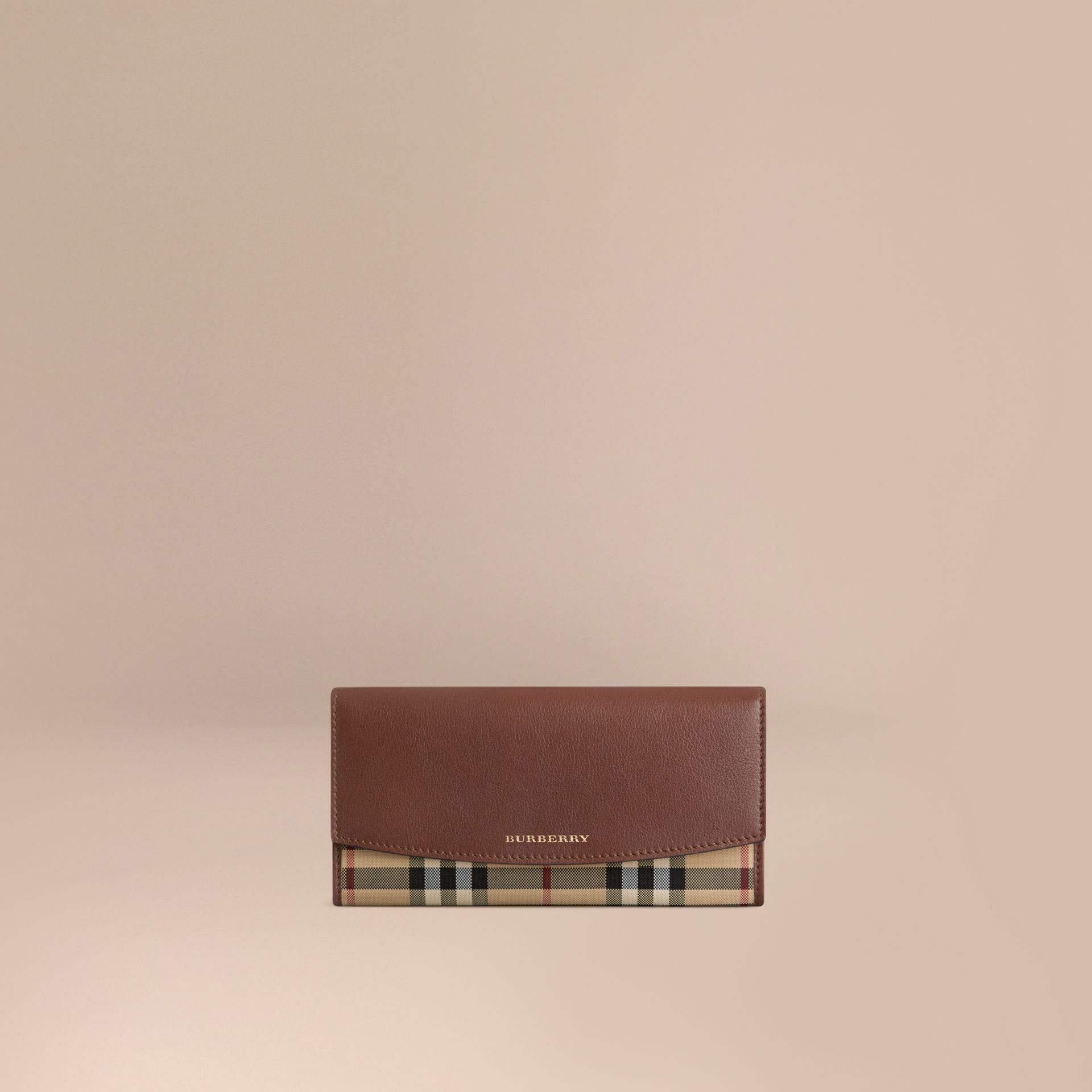 Horseferry Check and Leather Continental Wallet in Tan - Women | Burberry Hong Kong - gallery image 1