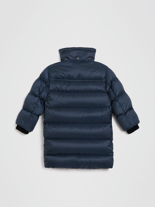 Detachable Hood Down-filled Puffer Coat in Navy | Burberry - cell image 3
