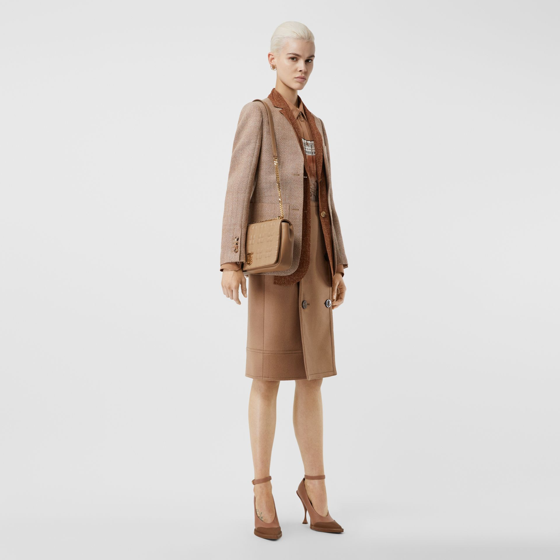 Medium Quilted Check Lambskin Lola Bag in Camel - Women | Burberry - gallery image 8
