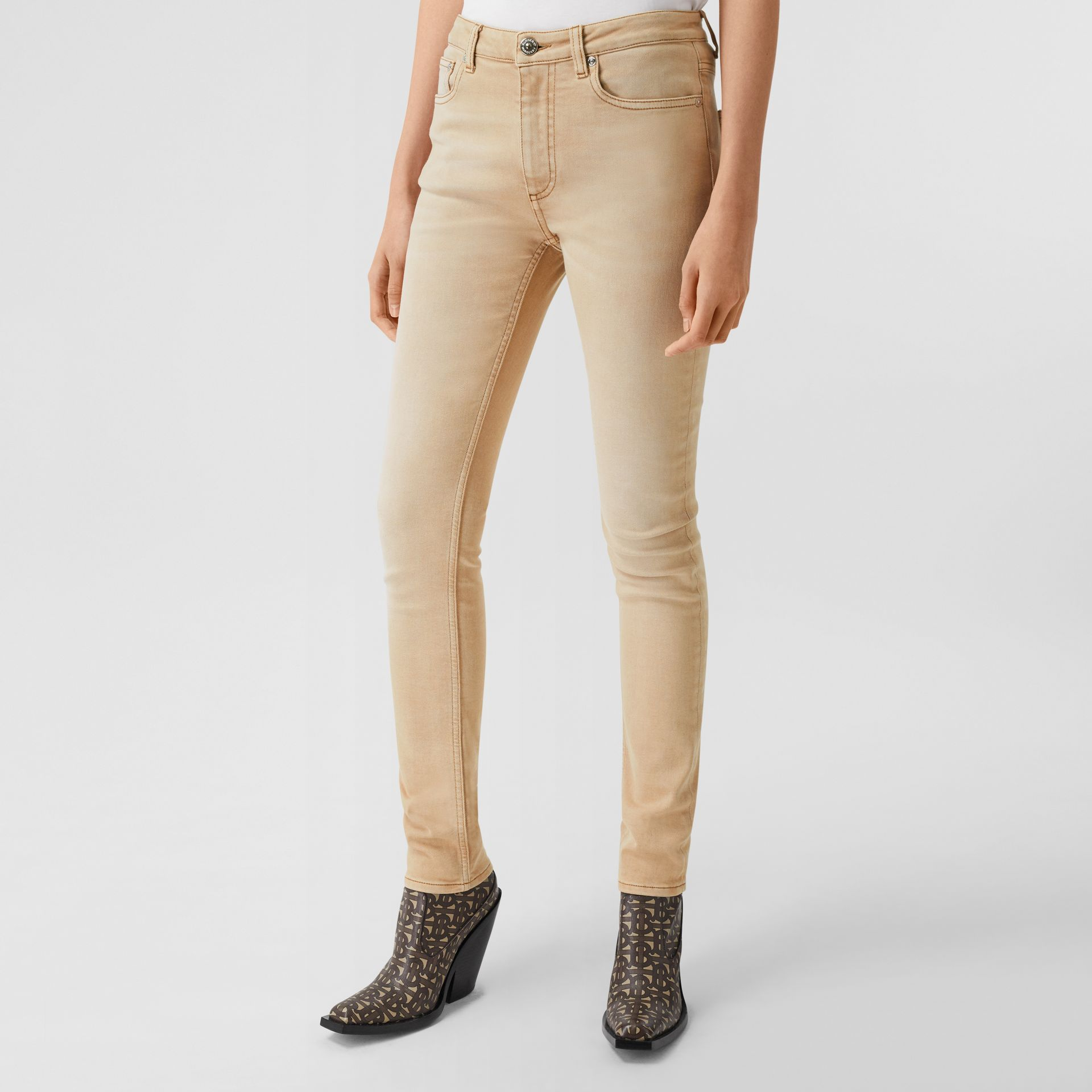 Skinny Fit Washed Japanese Denim Jeans in Honey - Women | Burberry United Kingdom - gallery image 4