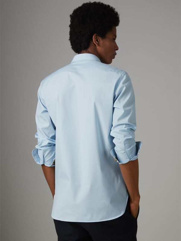 Check Cuff Stretch Cotton Poplin Shirt in Pale Blue - Men | Burberry - cell image 2