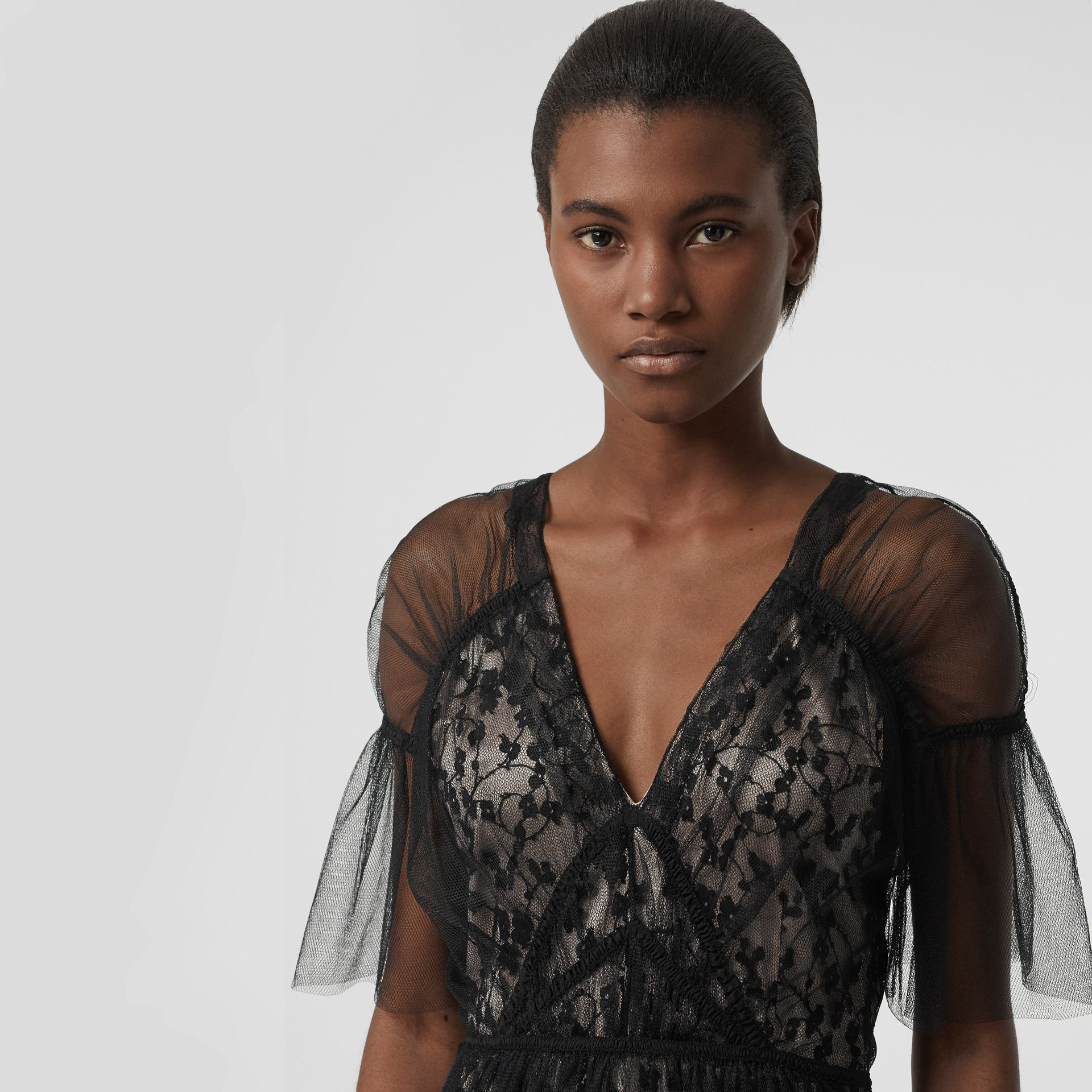 Ruffled Hem Embroidered Tulle Dress in Black - Women | Burberry - gallery image 1