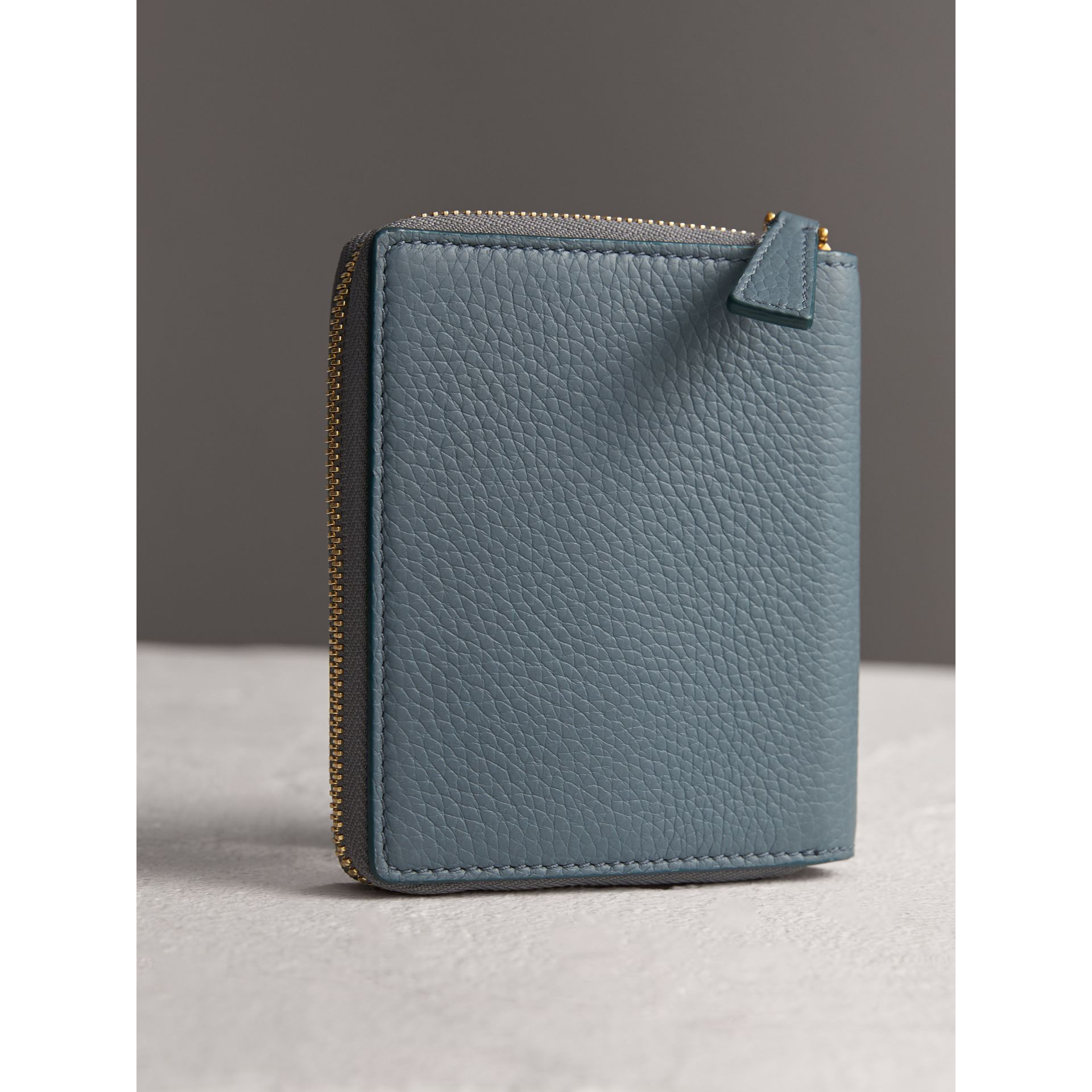 Embossed Grainy Leather Ziparound A6 Notebook Case in Dusty Teal Blue | Burberry - gallery image 2