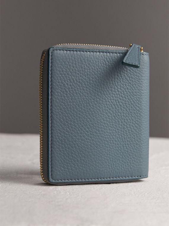 Embossed Grainy Leather Ziparound A6 Notebook Case in Dusty Teal Blue | Burberry - cell image 2