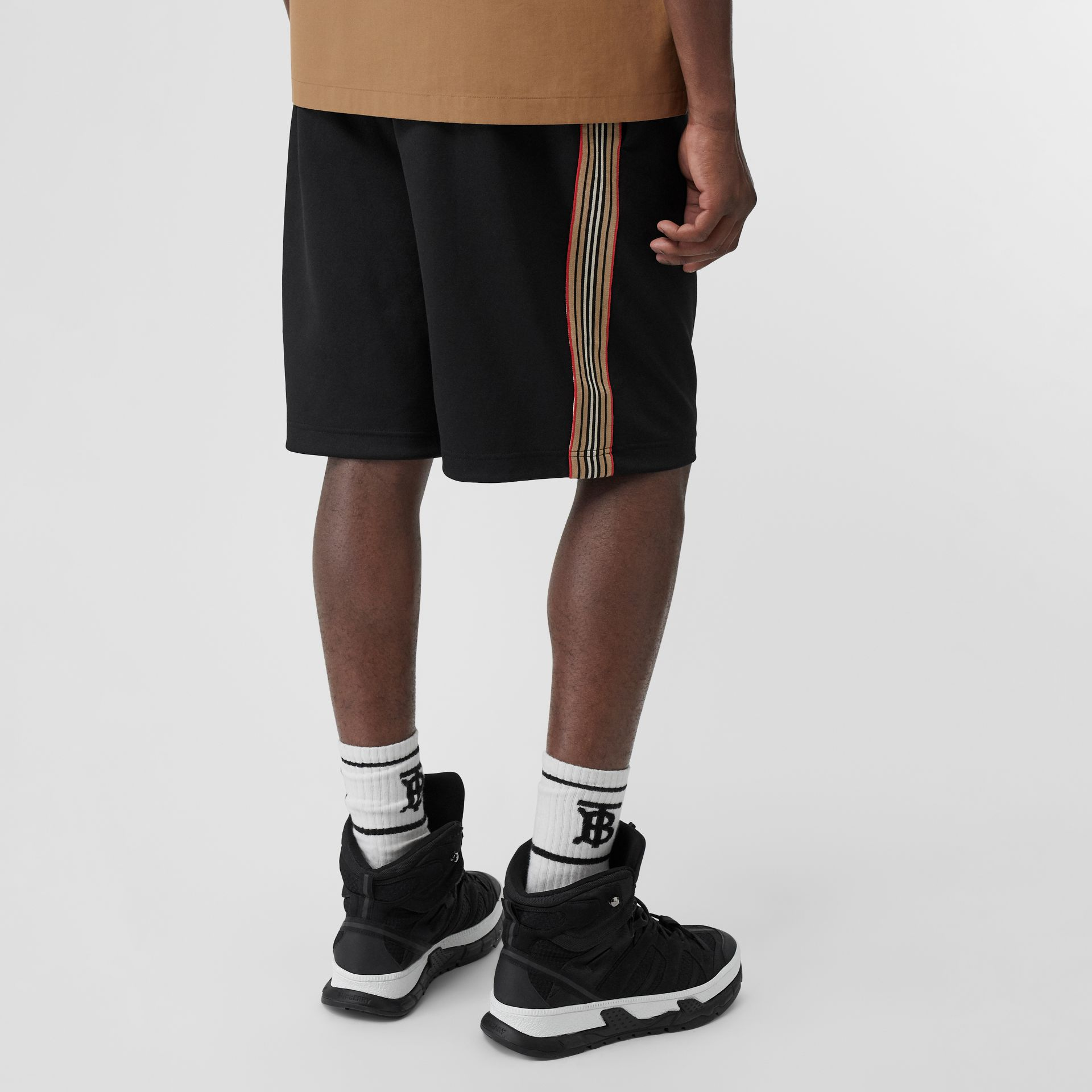 Icon Stripe Detail Cotton Blend Shorts in Black - Men | Burberry - gallery image 2
