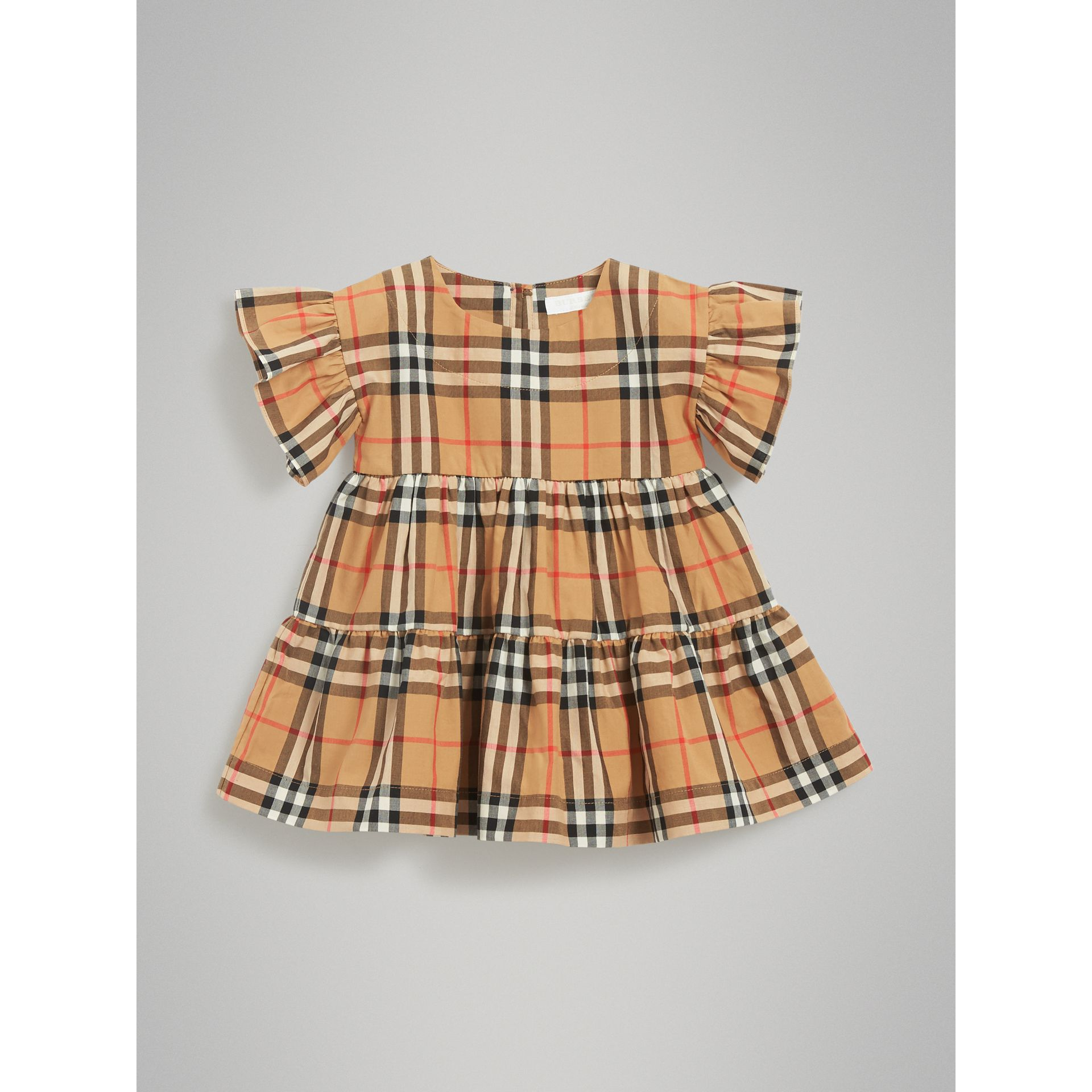 Robe et bloomer à motif Vintage check avec volants (Jaune Antique) | Burberry - photo de la galerie 0