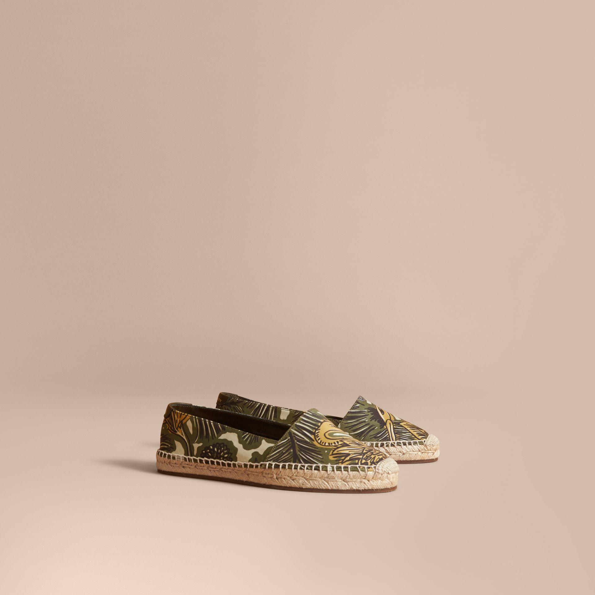 Beasts Print Cotton Blend Espadrilles in Clay Green - Women | Burberry United Kingdom - gallery image 1