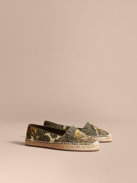 Beasts Print Cotton Blend Espadrilles in Clay Green