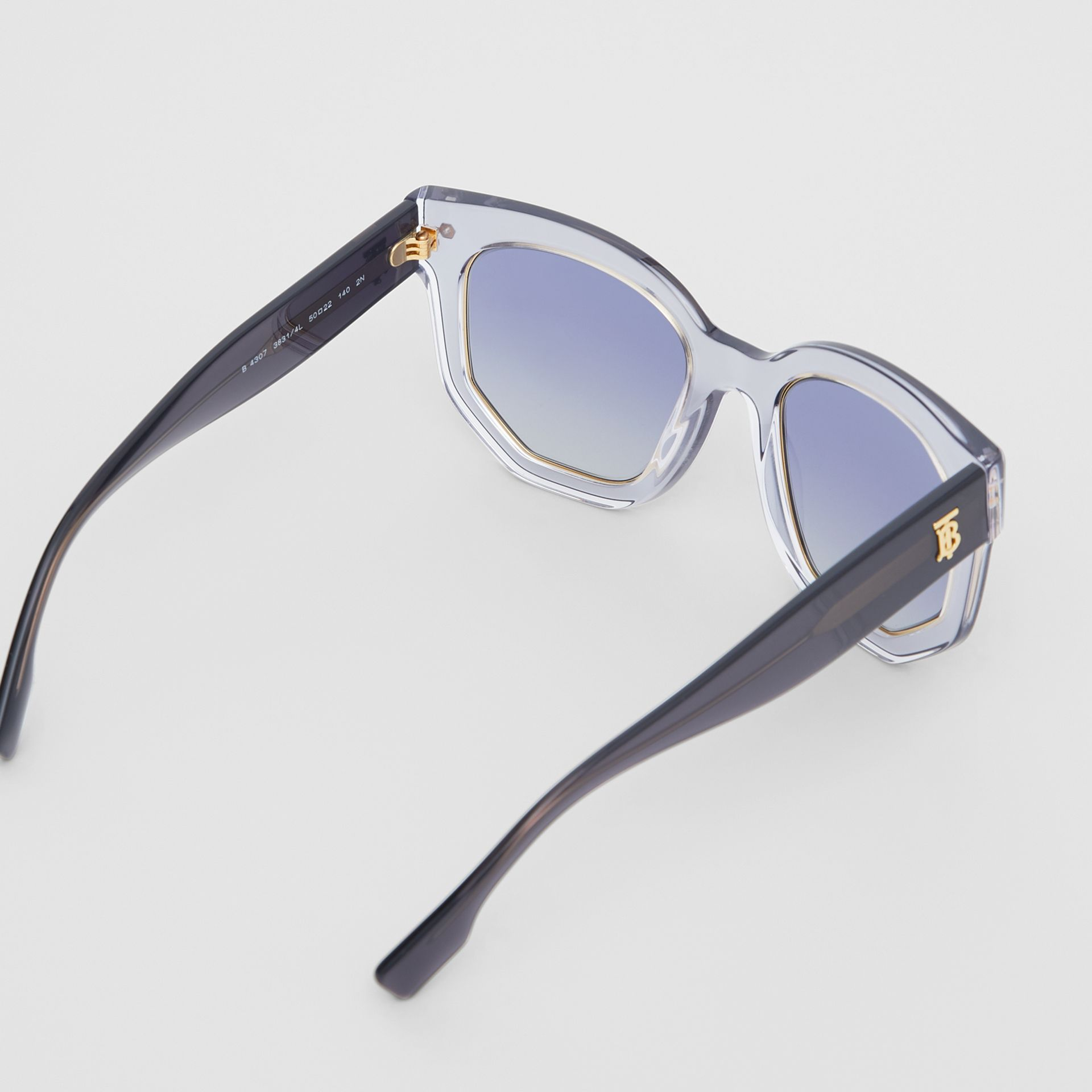 Geometric Frame Sunglasses in Grey - Women | Burberry - gallery image 4