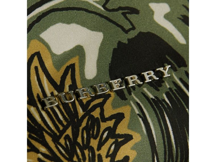 The Large Rucksack in Beasts Print Nylon and Leather in Sage Green - Men | Burberry Singapore - cell image 1