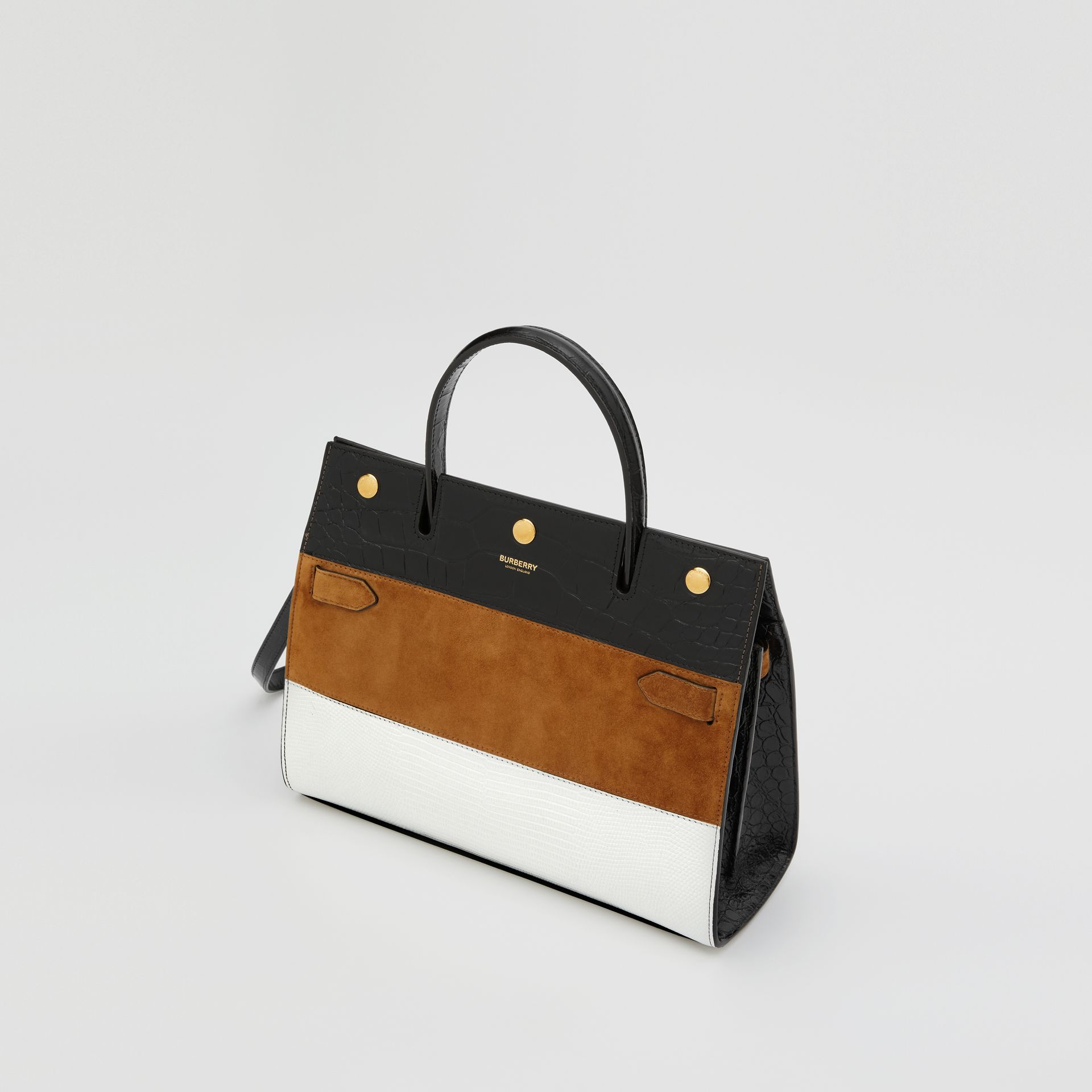 Small Panelled Leather, Suede and Deerskin Title Bag in White/maple - Women | Burberry - gallery image 3