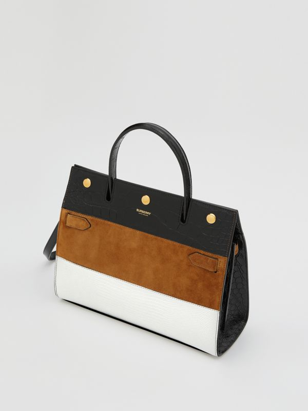 Small Panelled Leather, Suede and Deerskin Title Bag in White/maple - Women | Burberry - cell image 3
