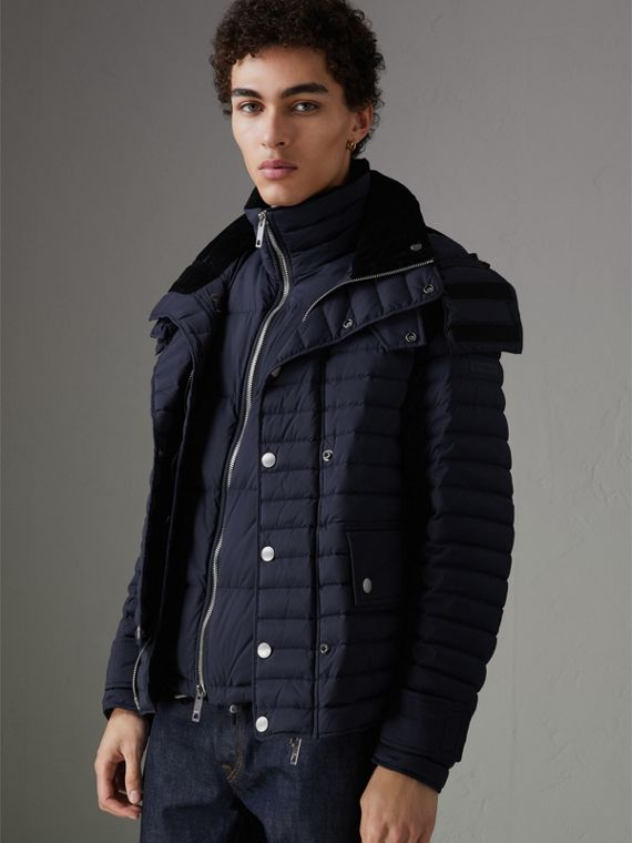 Corduroy Collar Down-filled Jacket with Detachable Gilet in Navy