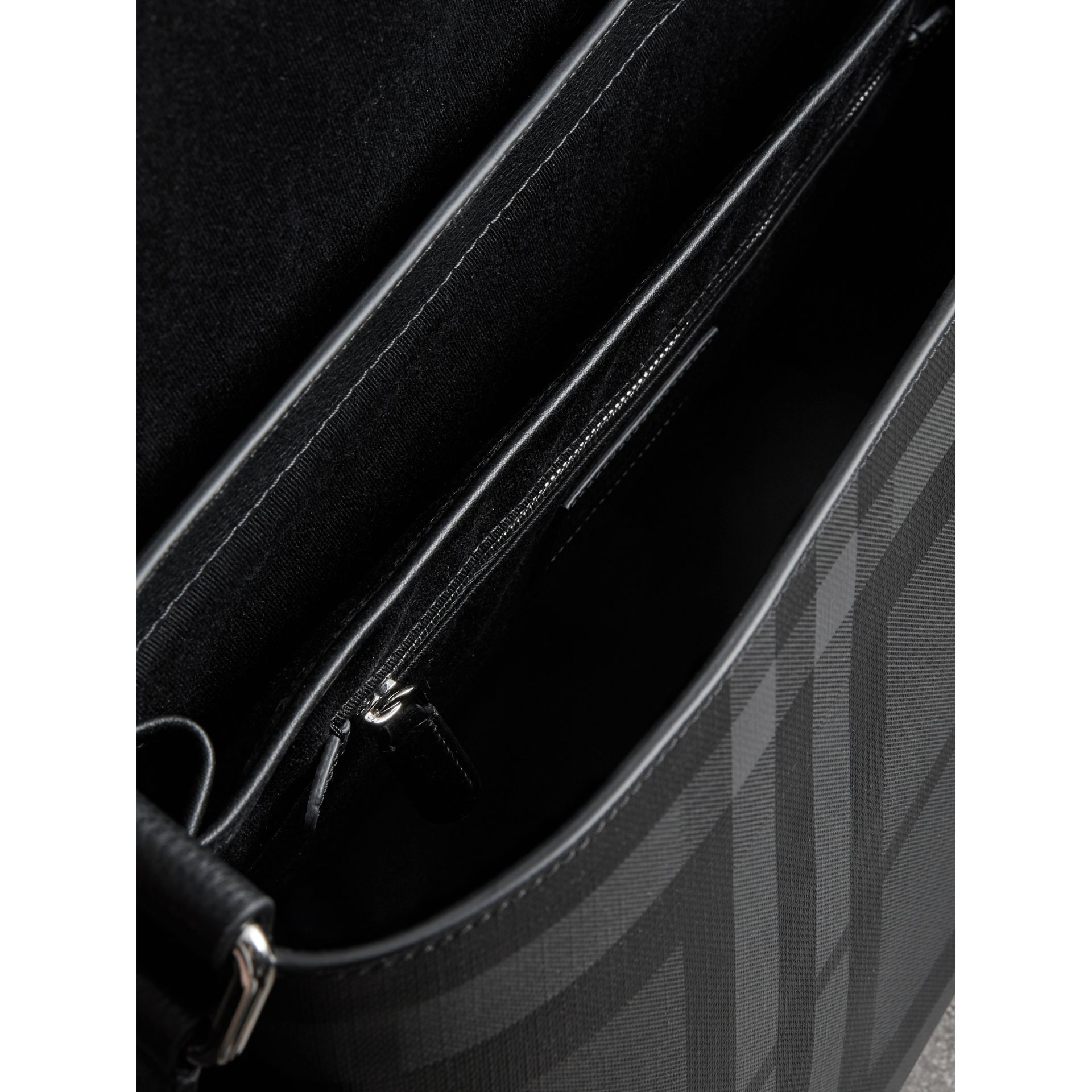 Large London Check Messenger Bag in Charcoal/black - Men | Burberry - gallery image 5