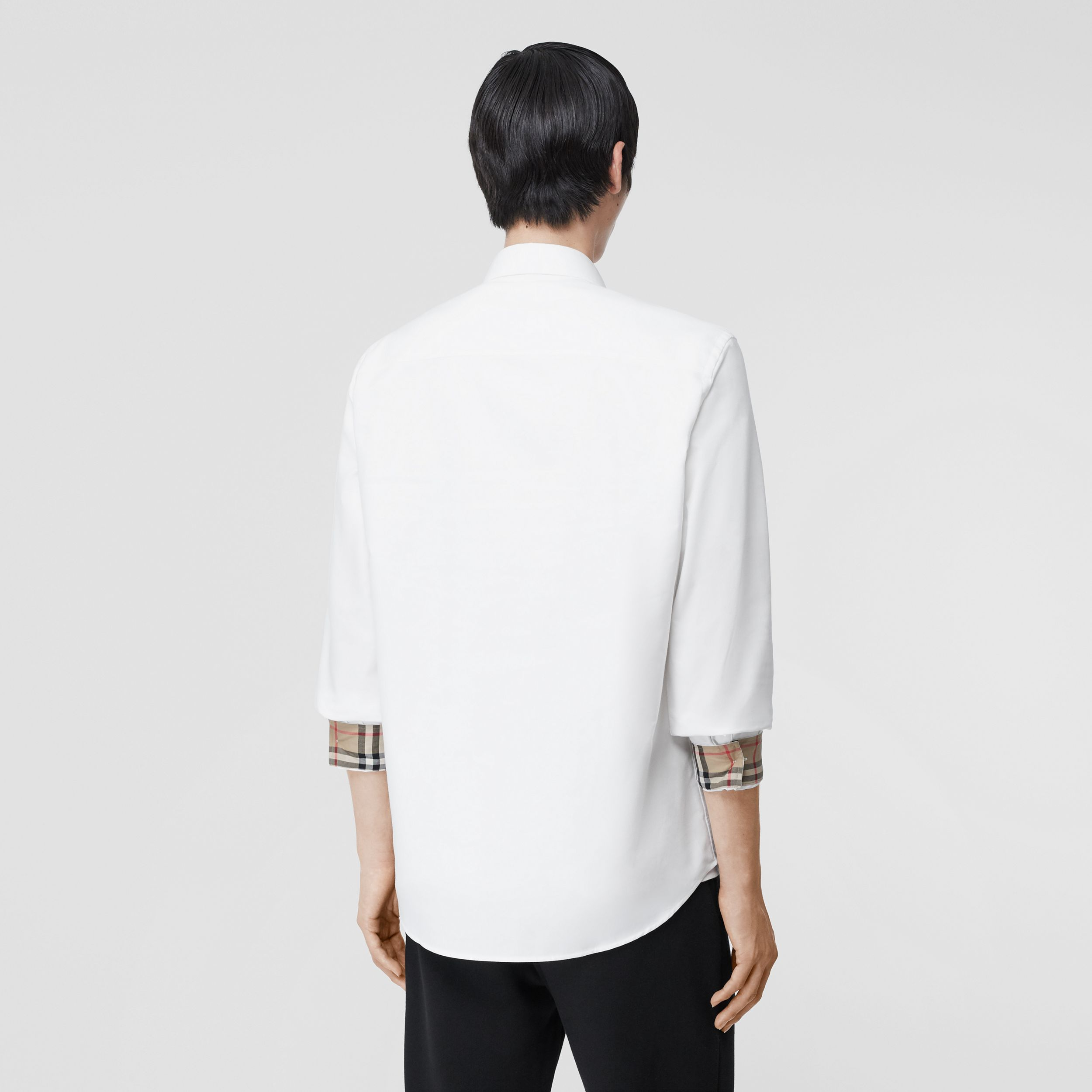 Monogram Motif Cotton Oxford Shirt in White - Men | Burberry Hong Kong S.A.R. - 3