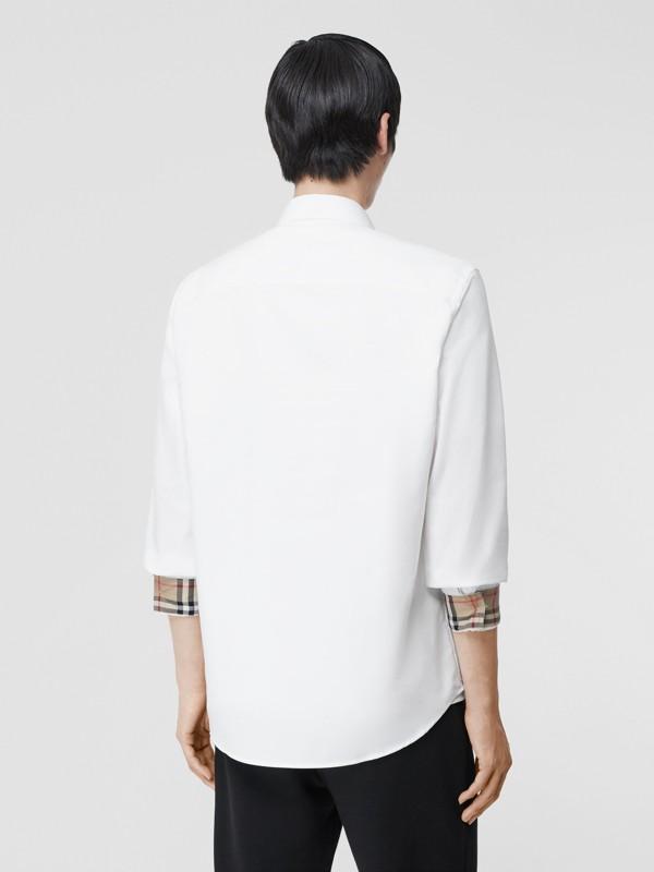 Monogram Motif Cotton Oxford Shirt in White - Men | Burberry Hong Kong S.A.R - cell image 2