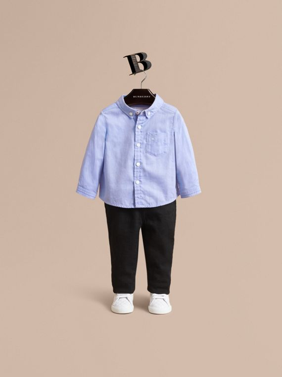 Cotton Oxford Shirt in Cornflower Blue | Burberry