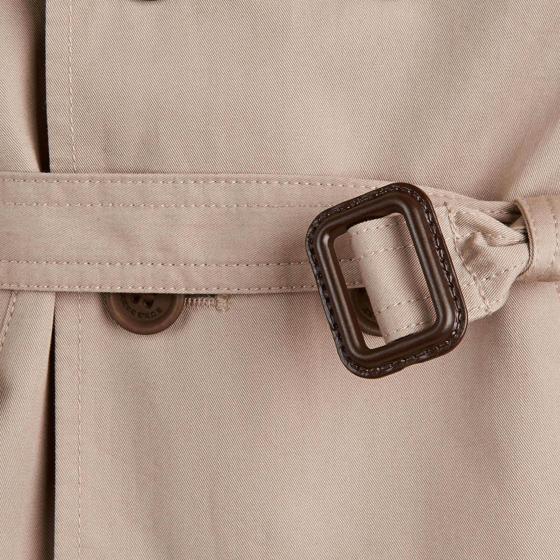 Taupe Hooded Cotton Twill Trench Coat - gallery image 2