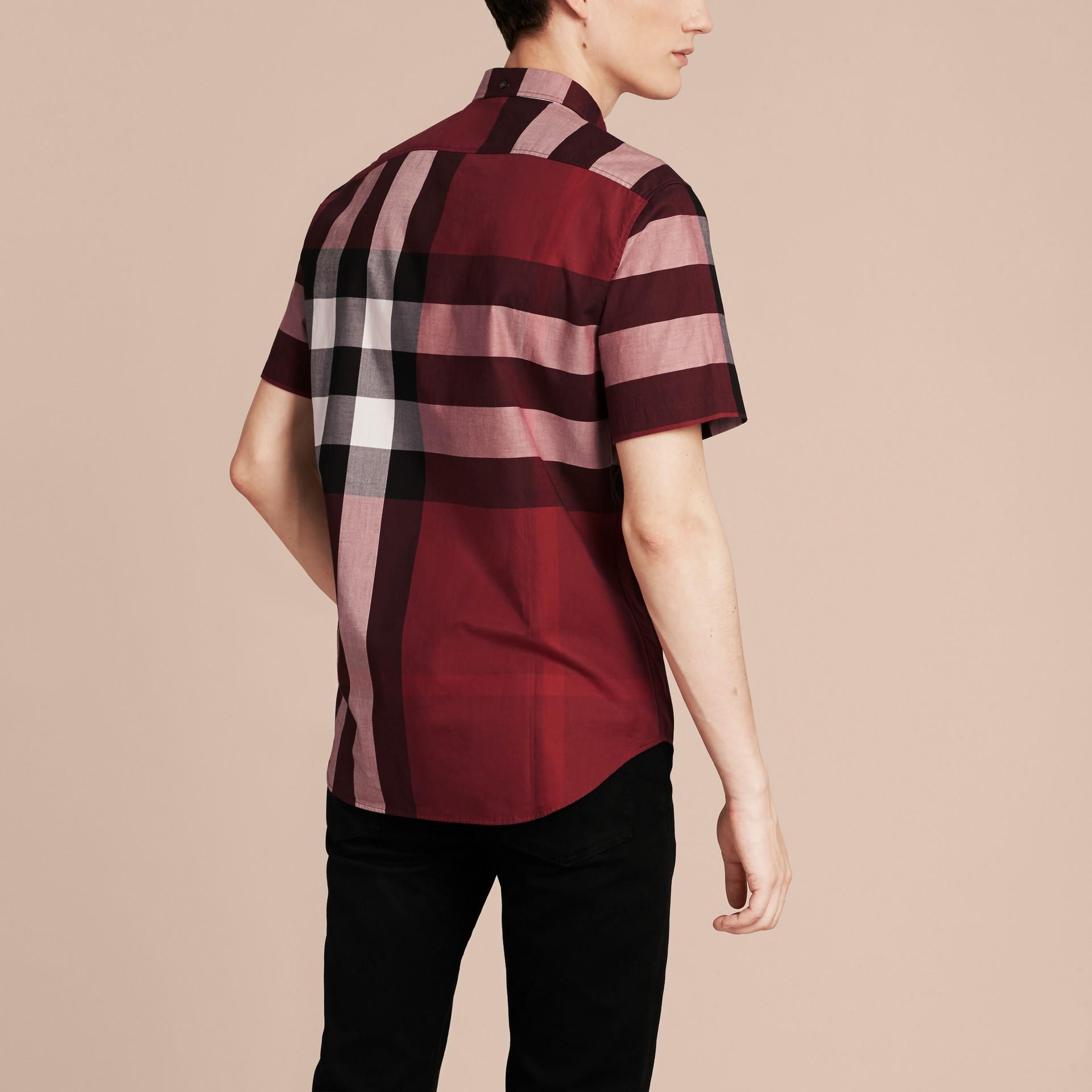 Berry red Camisa de algodão com estampa xadrez e mangas curtas Berry Red - galeria de imagens 3