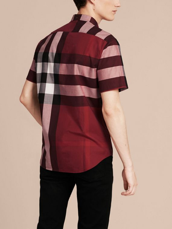 Berry red Short-sleeved Check Cotton Shirt Berry Red - cell image 2
