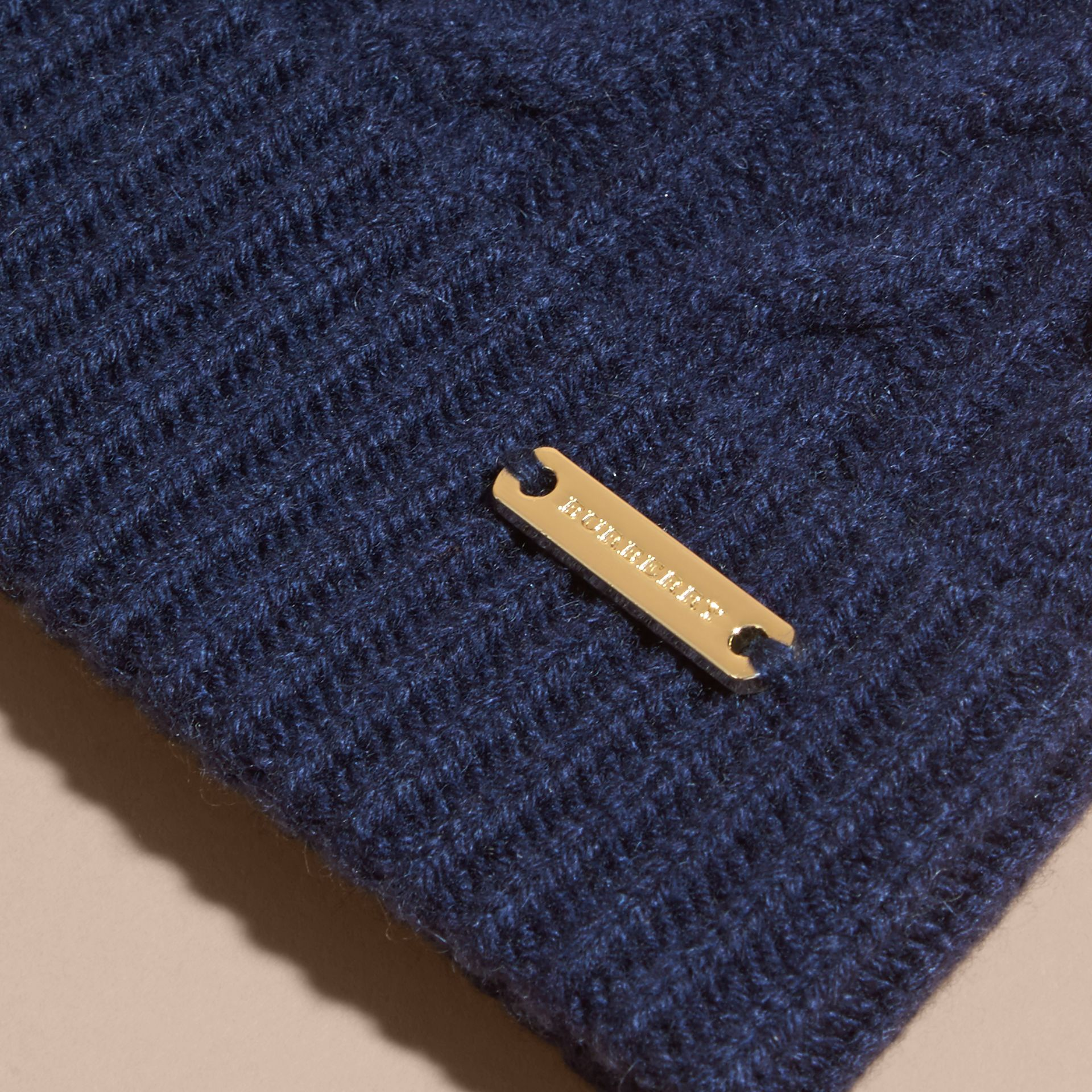Navy Wool Cashmere Beanie with Fur Pom-Pom Navy - gallery image 2