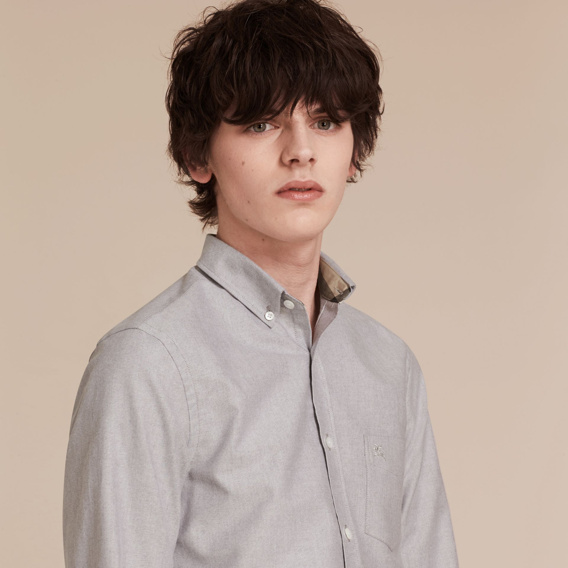 Cotton Oxford Shirt in Charcoal - Men | Burberry - gallery image 2