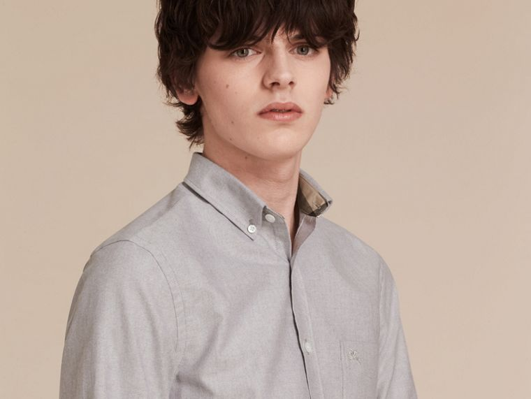 Cotton Oxford Shirt in Charcoal - Men | Burberry - cell image 1