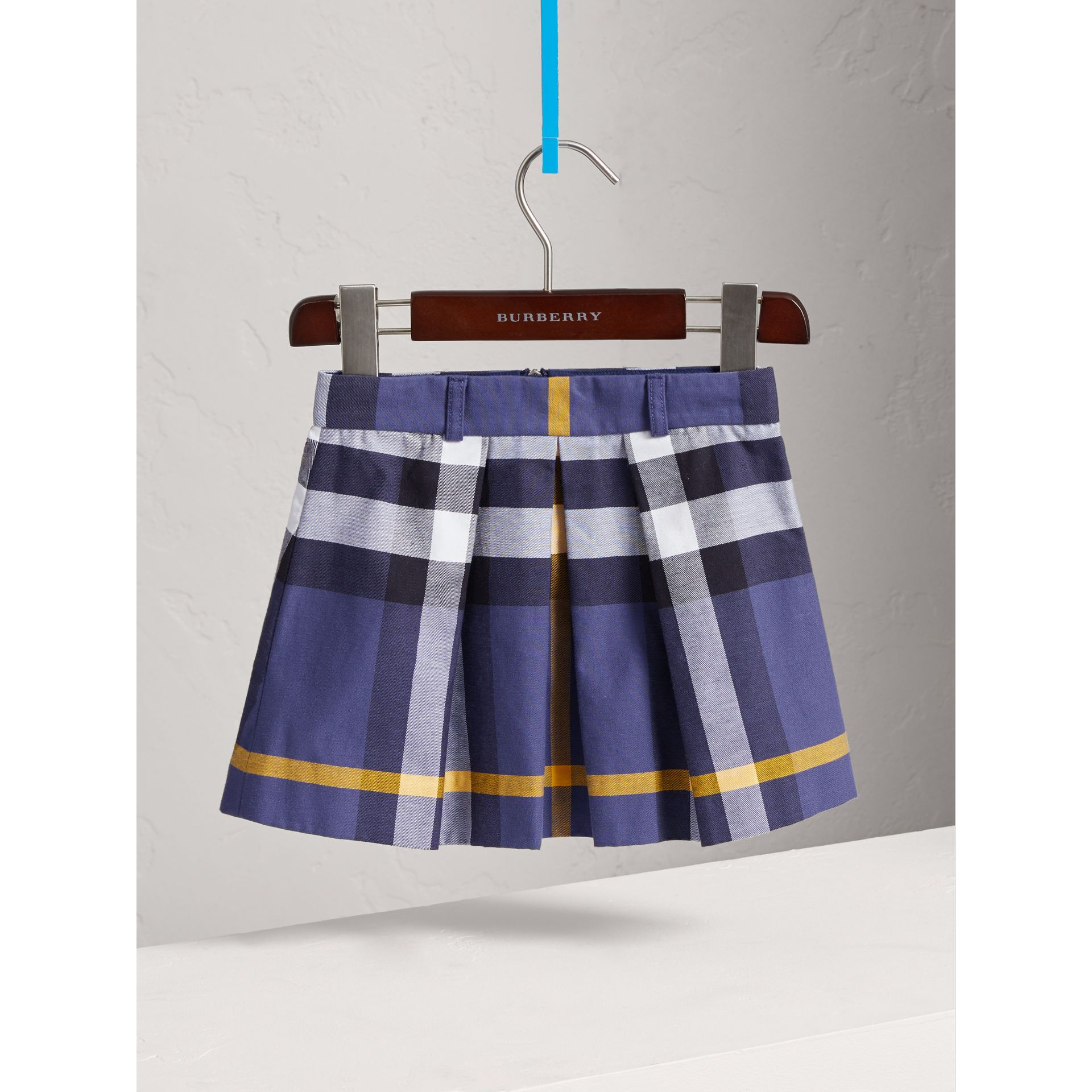 Pleated Check Cotton Skirt in Pale Navy - Girl | Burberry - gallery image 2