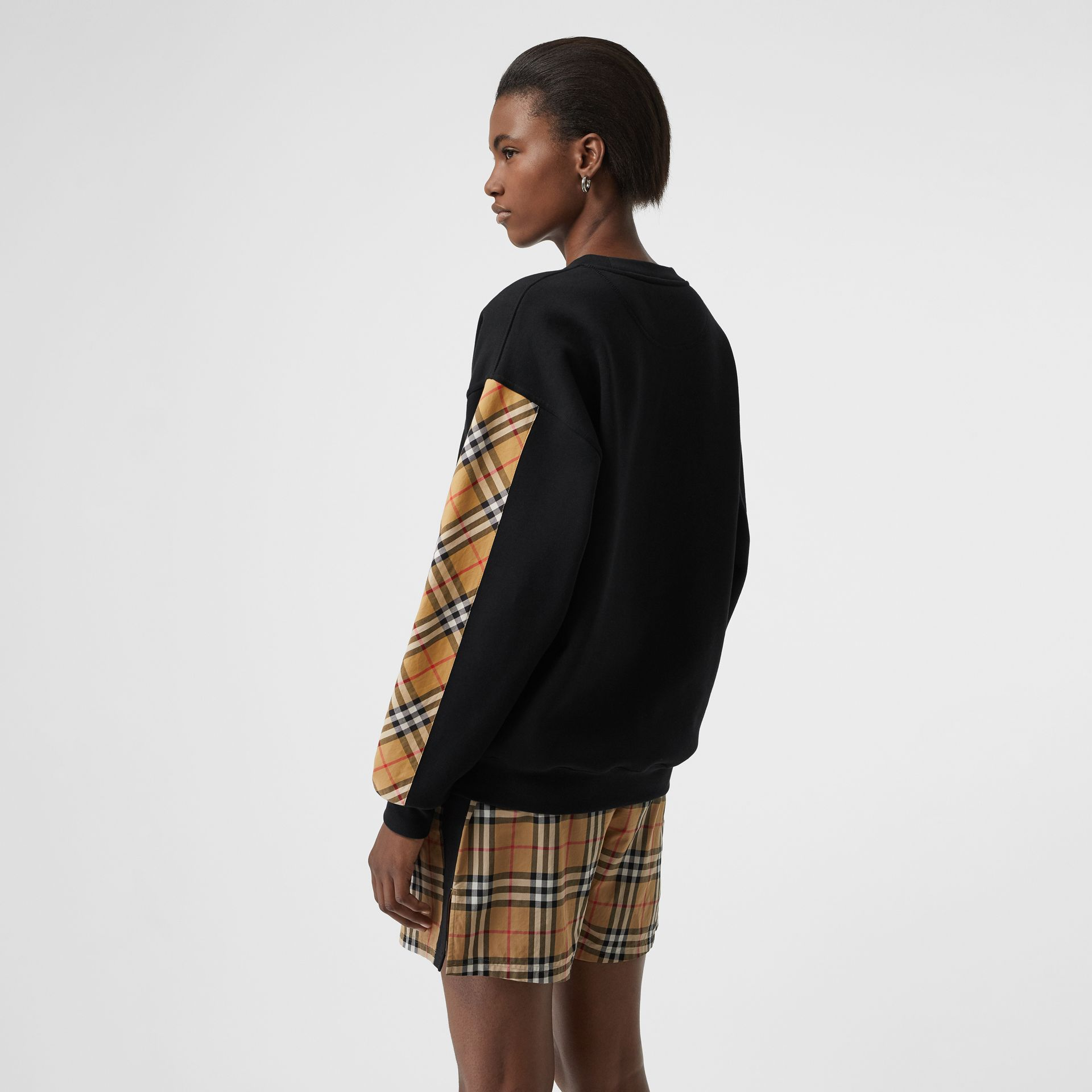 Vintage Check Detail Cotton Blend Sweatshirt in Black - Women | Burberry United Kingdom - gallery image 2