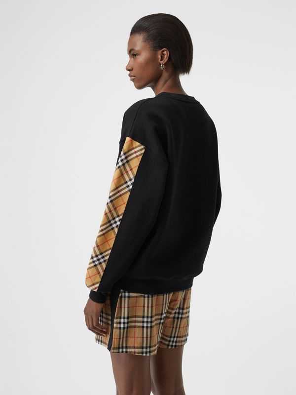 Vintage Check Detail Cotton Blend Sweatshirt in Black - Women | Burberry United Kingdom - cell image 2