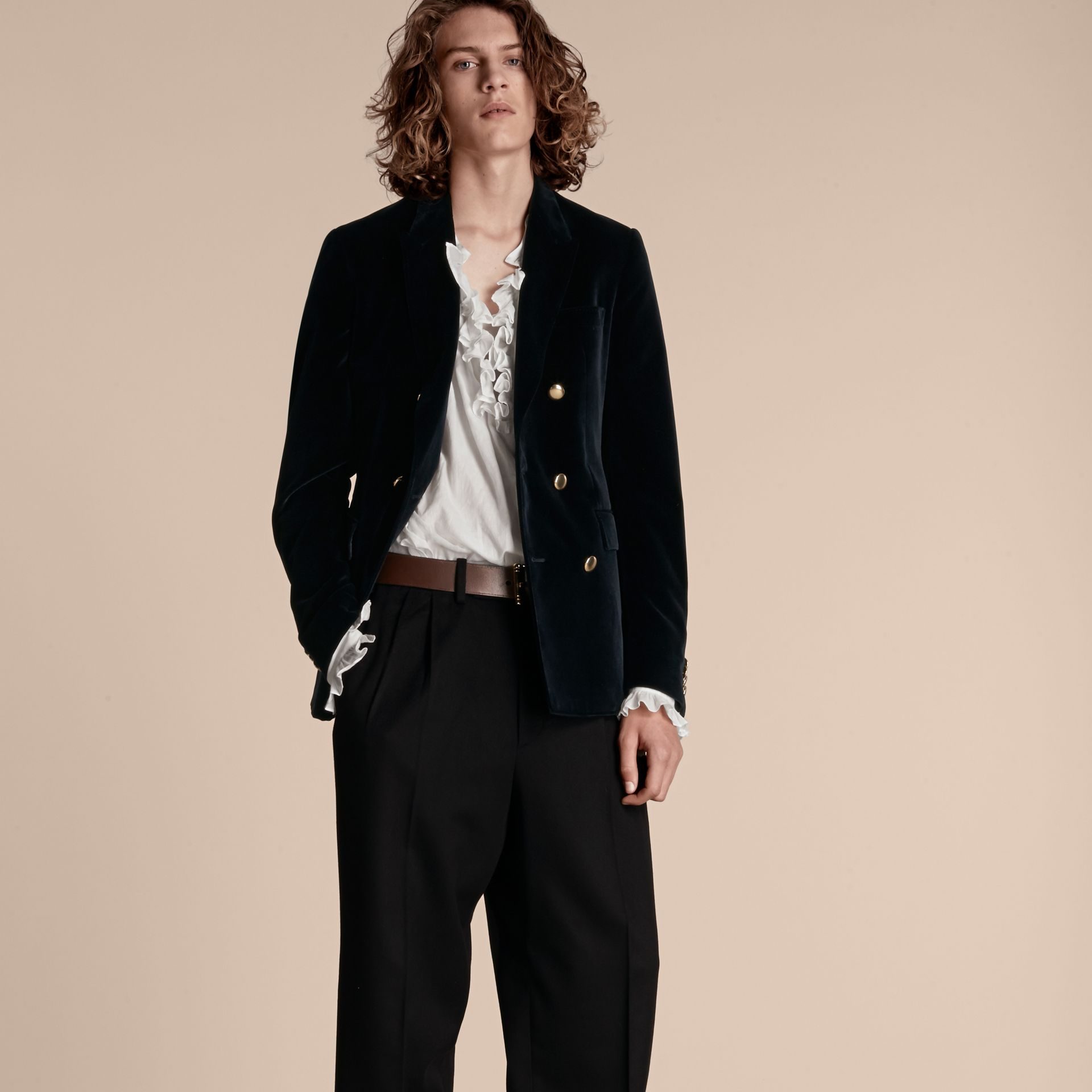 Navy Double-breasted Velvet Jacket - gallery image 7