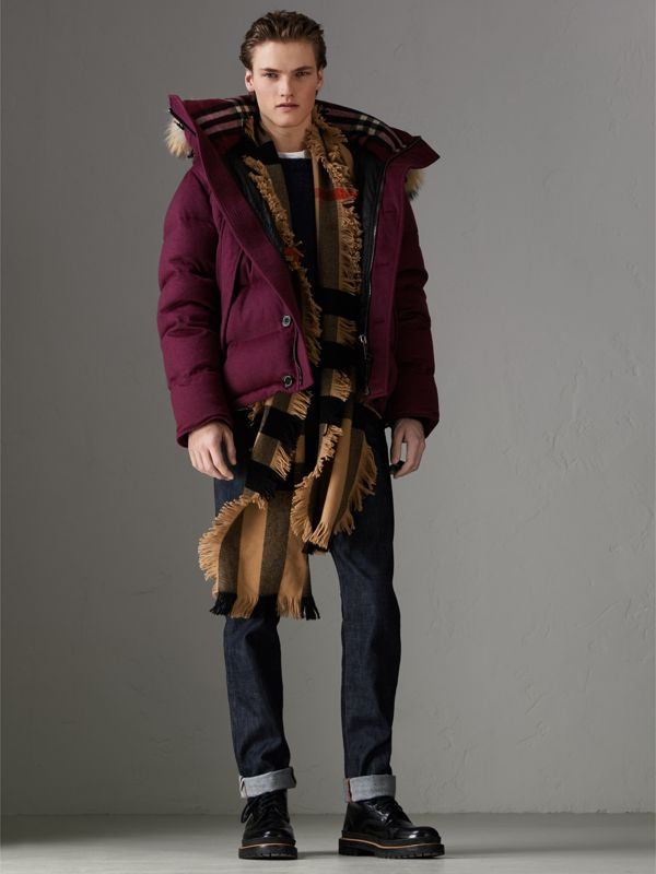 Fringed Check Wool Scarf in Camel | Burberry Singapore - cell image 3