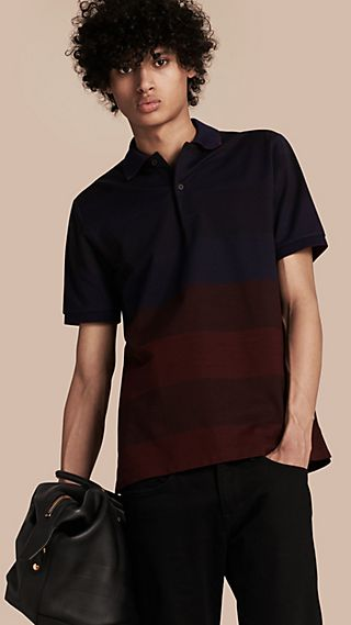 Striped Stretch Cotton Piqué Polo Shirt