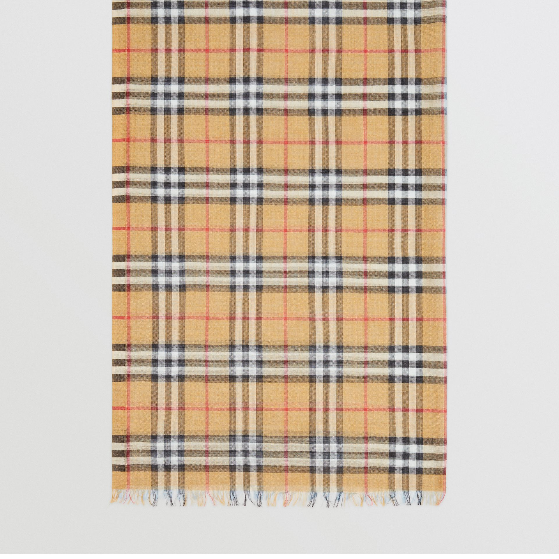 Vintage Check and Colour Block Wool Silk Scarf in Pale Blue Carbon | Burberry United Kingdom - gallery image 4