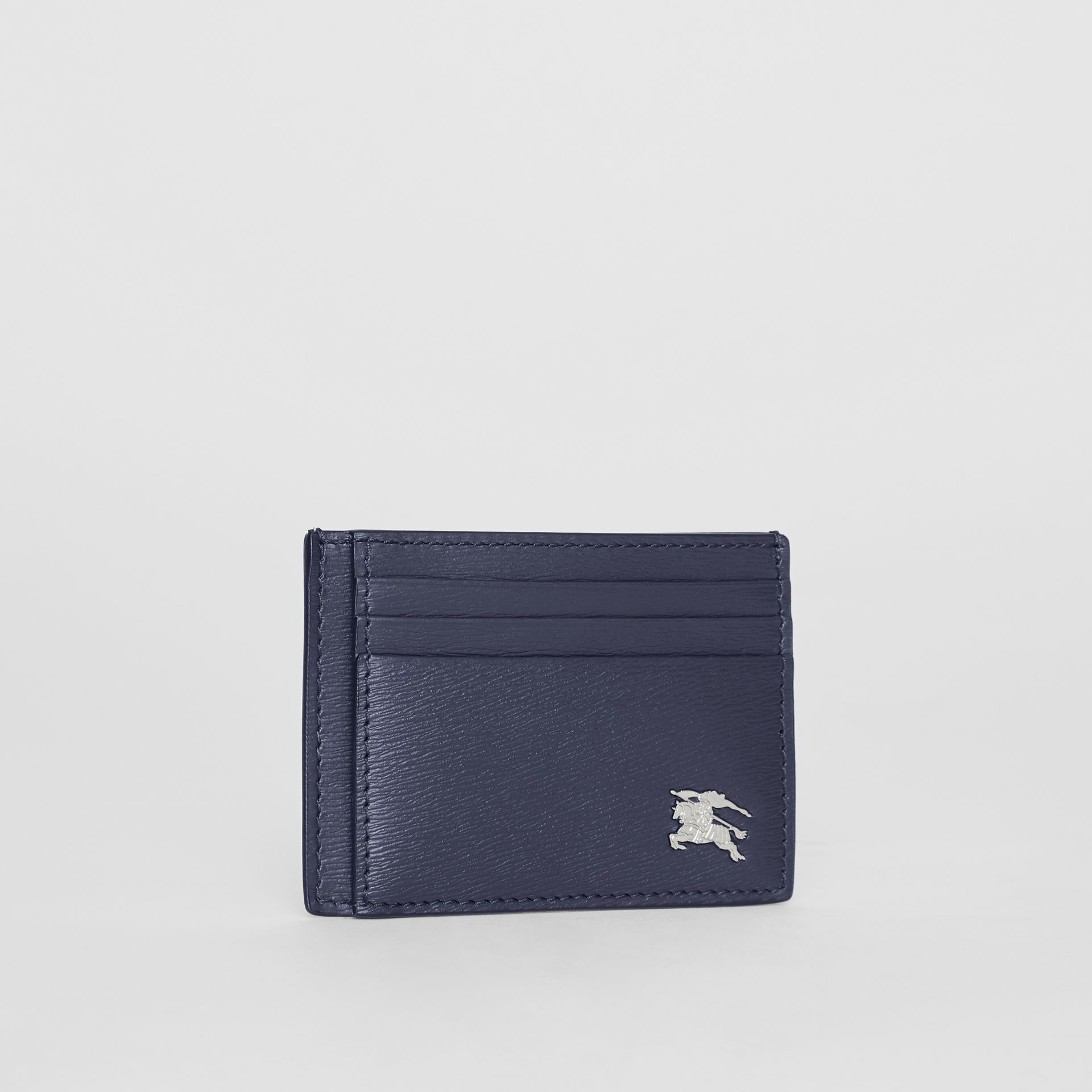 Grainy Leather Card Case in Navy - Men | Burberry - gallery image 3