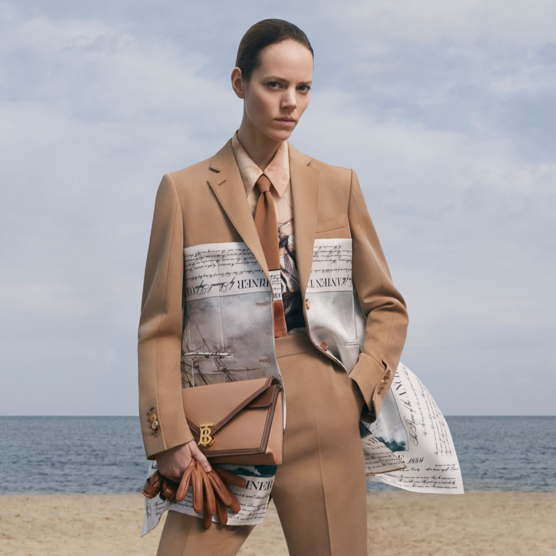 Mariner Print Scarf Detail Wool Blend Tailored Jacket in Camel - Women | Burberry Australia - gallery image 0
