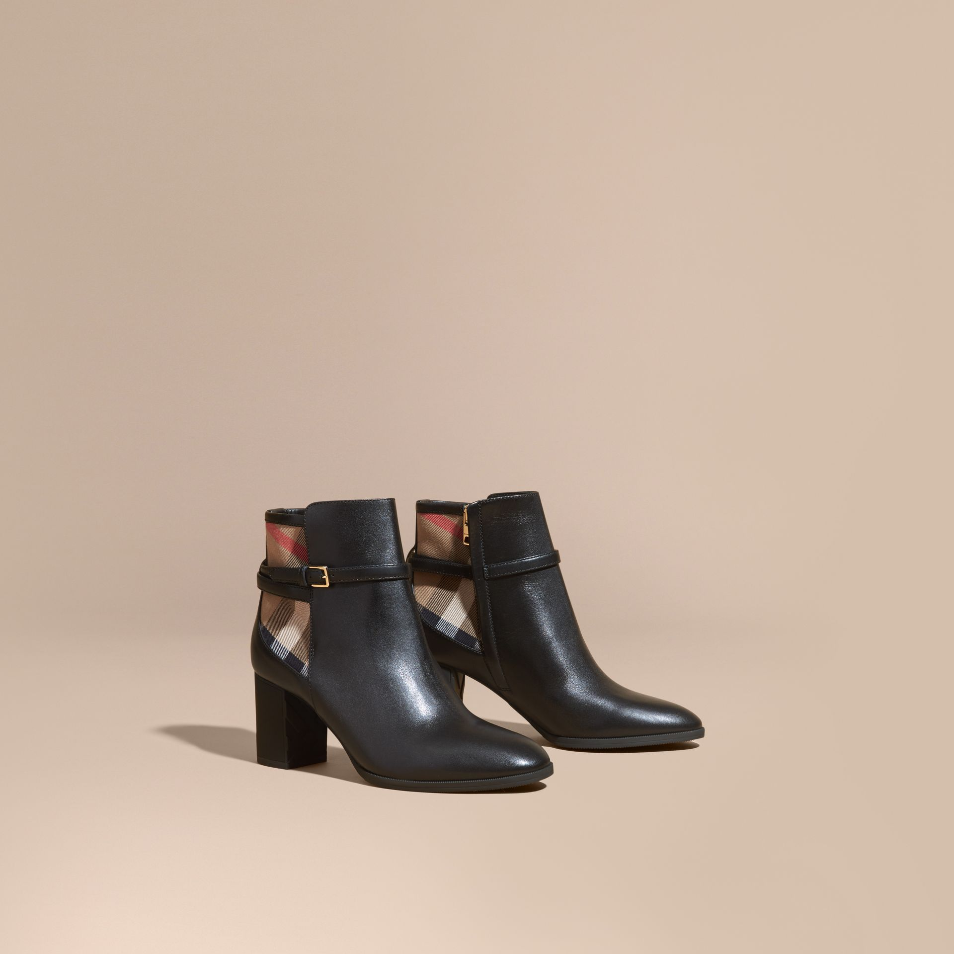 Black House Check and Leather Ankle Boots Black - gallery image 1