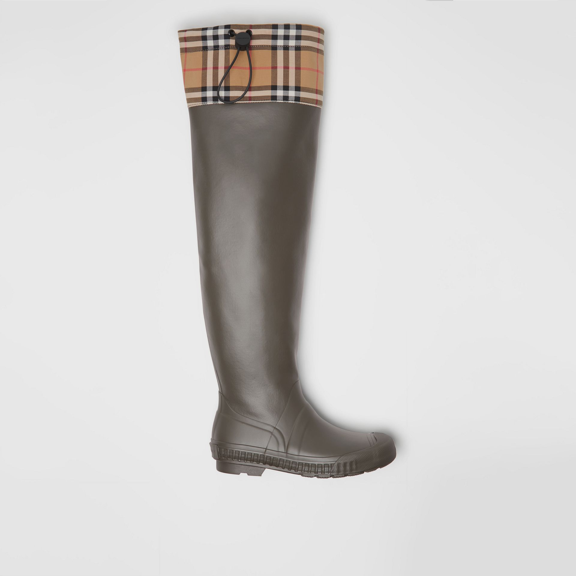 Vintage Check and Rubber Knee-high Rain Boots in Military Green - Women | Burberry Canada - gallery image 0