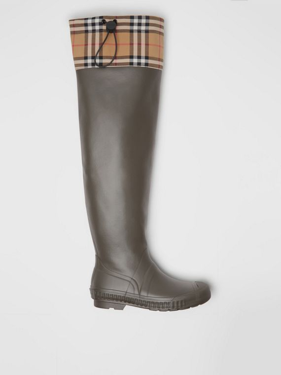 Vintage Check and Rubber Knee-high Rain Boots in Military Green