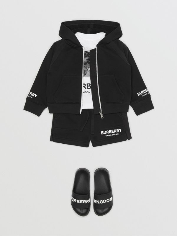 Logo Print Cotton Hooded Top in Black - Children | Burberry - cell image 3