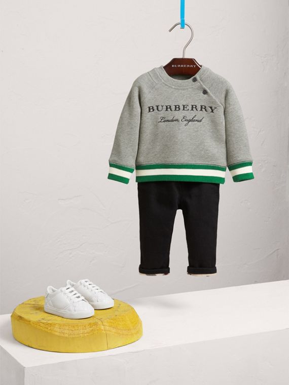 Contrast Stripe Embroidered Cotton Sweatshirt in Grey Melange
