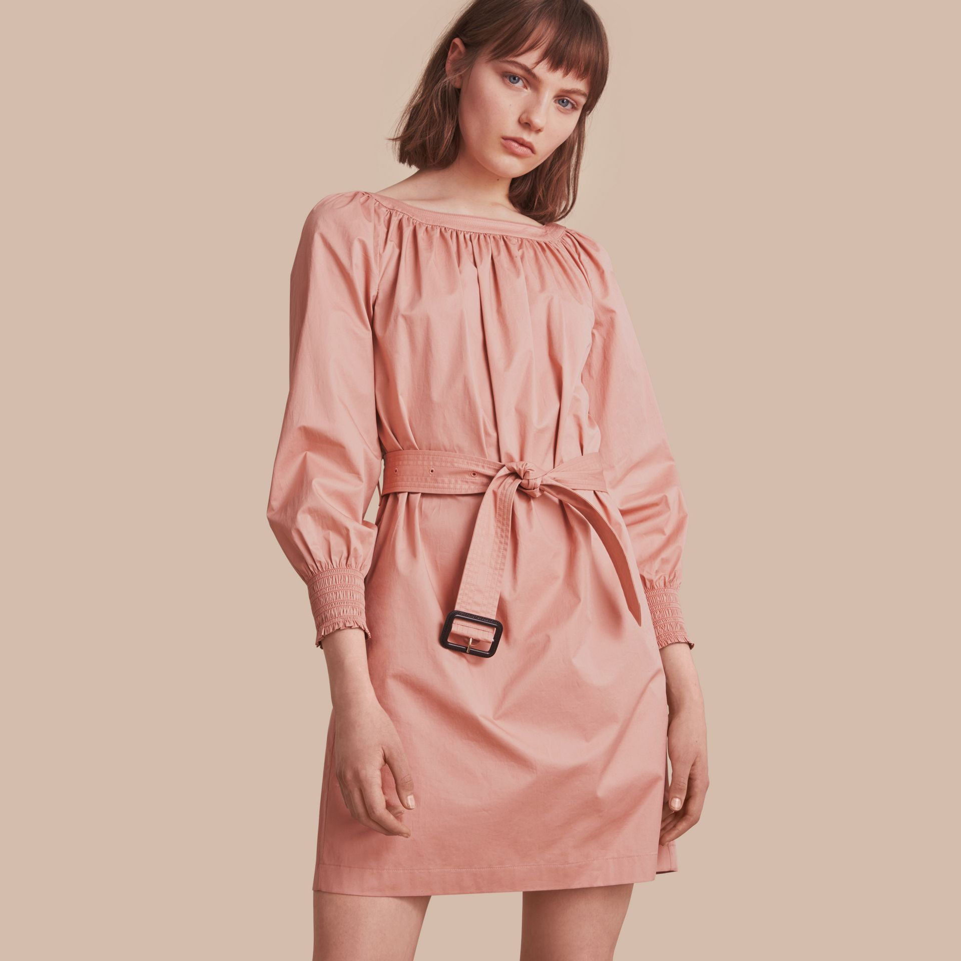 Smocked Cuff Stretch Cotton Dress - gallery image 1
