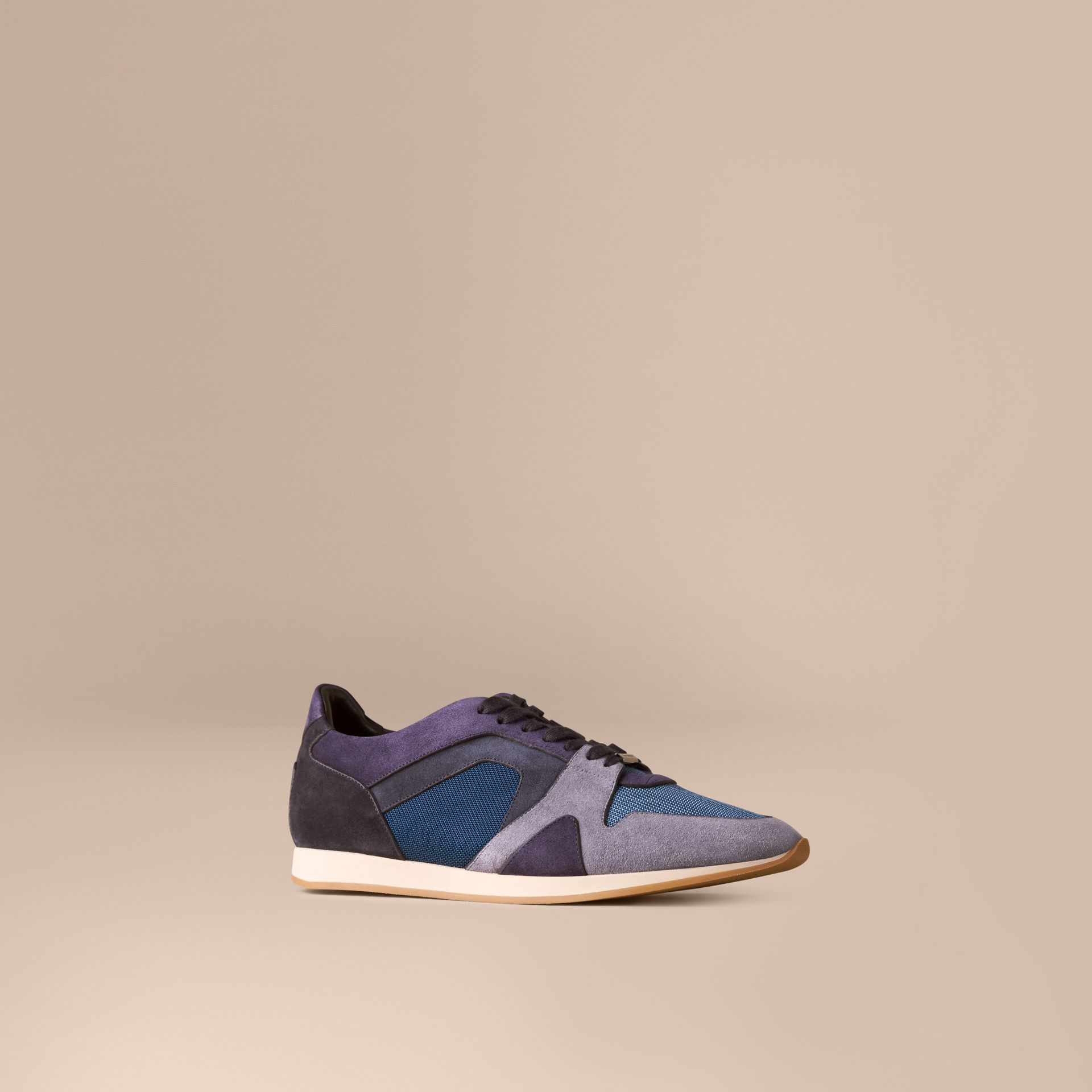 Винтажный синий Кроссовки из замши с эффектом цветовых блоков - изображение 1