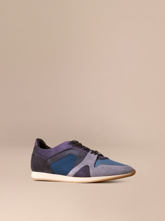 The Field Sneaker in Colour Block Suede and Mesh Vintage Blue