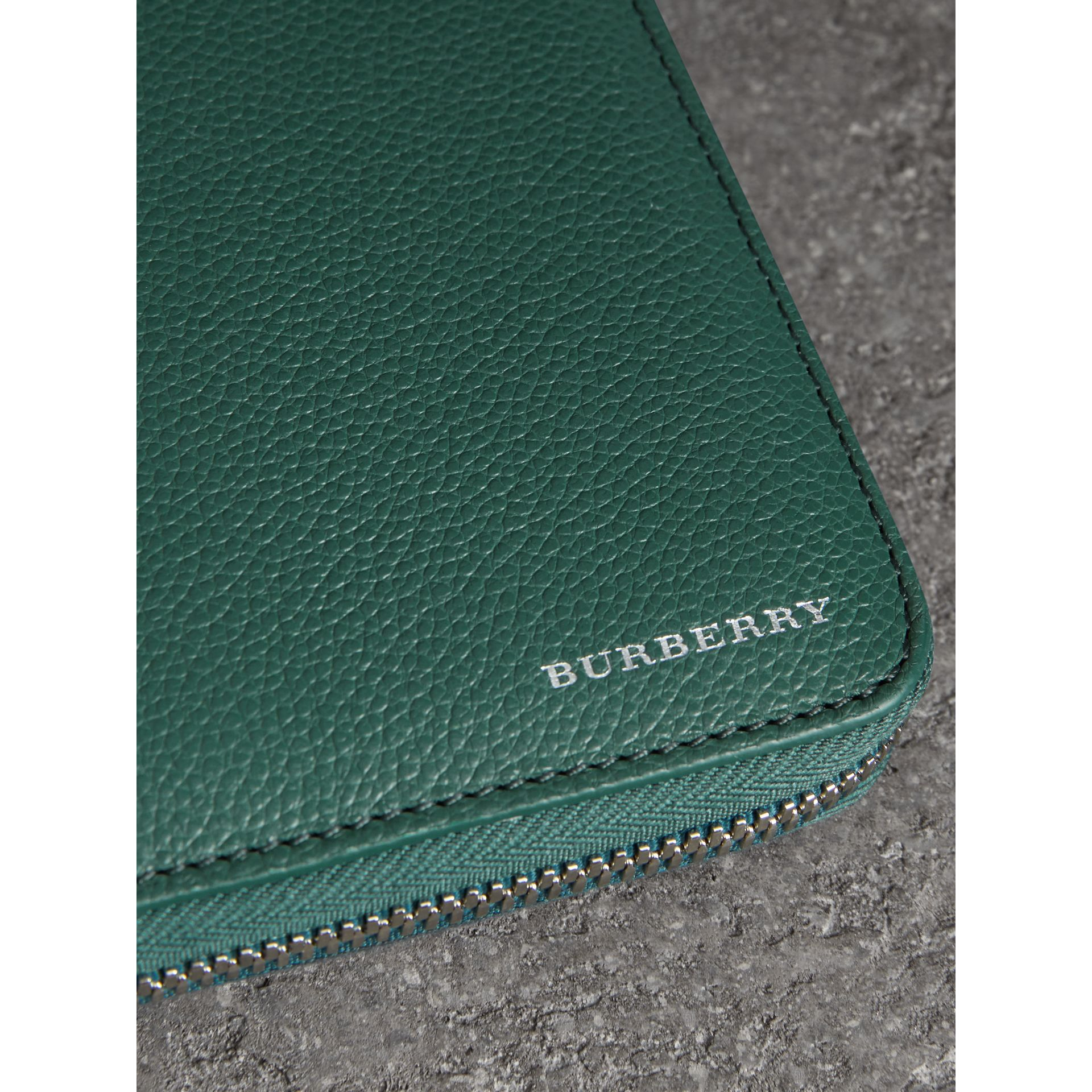 Grainy Leather Ziparound Wallet in Dark Cyan - Men | Burberry - gallery image 1