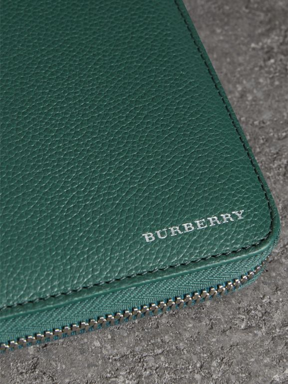 Grainy Leather Ziparound Wallet in Dark Cyan - Men | Burberry - cell image 1