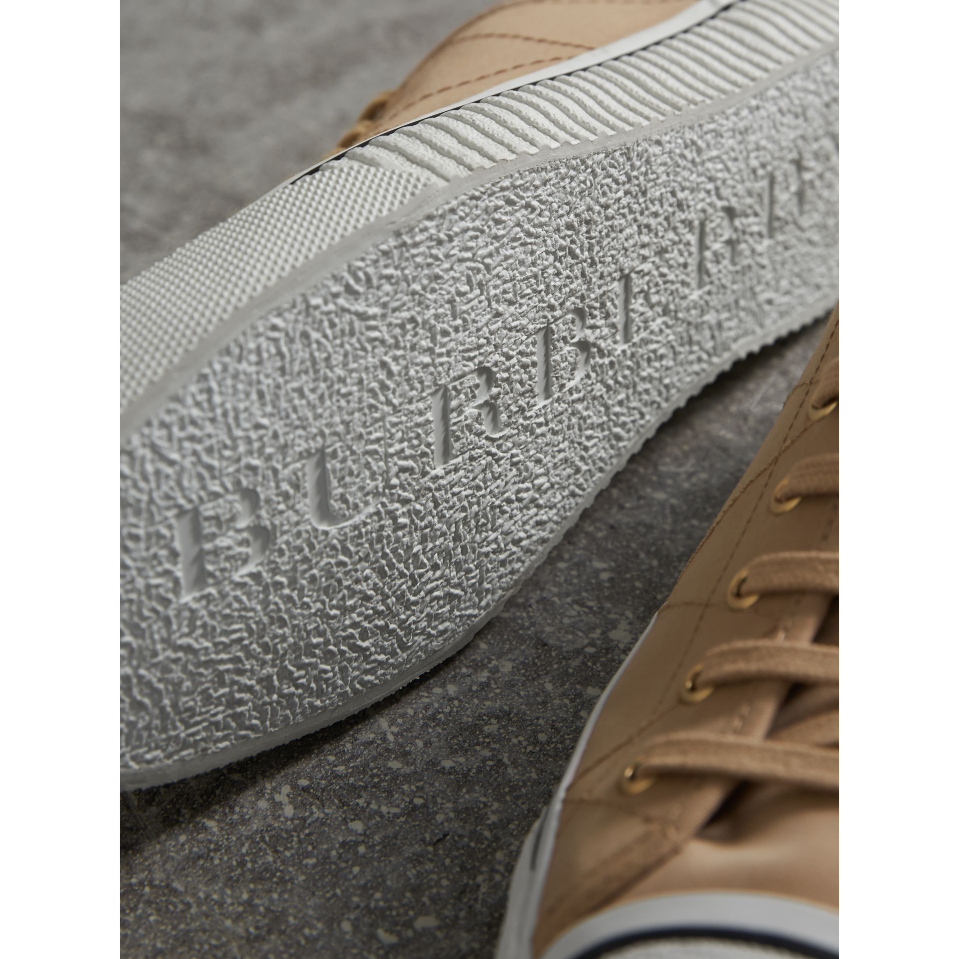 Topstitched Cotton Gabardine Trainers in Honey - Men | Burberry - gallery image 2
